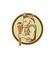 Donkey Plumber Monkey Wrench Circle Retro vector image vector image