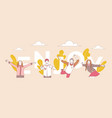 enjoy word concept banner template people dancing vector image vector image