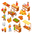 Farmers Marketplace Isometric Set vector image vector image