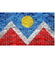 flag of denver on a brick wall vector image