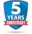 Flat design 5 years anniversary label with red vector image