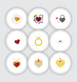flat icon heart set of scrambled necklace vector image vector image