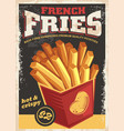 french fries antique poster vector image vector image