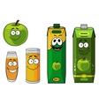 Fresh cartoon apple with apple juice vector image vector image