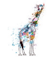 giraffe covered with colorful grunge splashes vector image