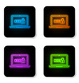 glowing neon laptop with password notification vector image vector image