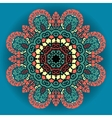 Green and red mandala ornament over azure vector image vector image
