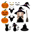 halloween day - decoration set vector image