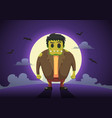 halloween frankenstein zombies at full moon night vector image vector image