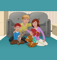 happy family with pets vector image
