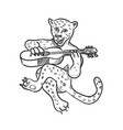 happy leopard playing acoustic guitar cartoon vector image vector image