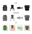 isolated object of fish and fishing sign set of vector image