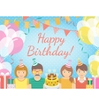 Kids Birthday Party Blue Background vector image vector image