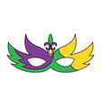 mardi gras glitter mask with fleur-de-lis carnival vector image vector image