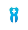 medical dental care logo tooth and medical cross vector image