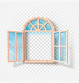 open window isolated wooden frame and glass vector image vector image