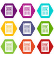 poster icon set color hexahedron vector image