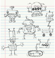 Robot doodles vector | Price: 1 Credit (USD $1)