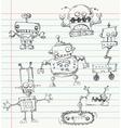 robot doodles vector image vector image