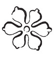 set foil have six leaves conjoined in centre vector image vector image