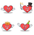 set of heart character with crazy magician king vector image vector image