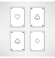 set of playing cards ace icons in clean and vector image vector image