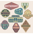 set of vintage labels with places of food and vector image vector image