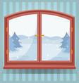 snow winter outdoor view in wooden window winter vector image