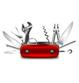 swiss knife isolated on white vector image