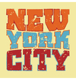 T shirt typography New York red blue yellow vector image vector image