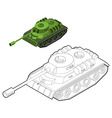 Tank coloring book Army equipment in linear style vector image