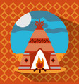 teepee native american with bonfire landscape vector image vector image