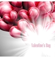 Valentines Day label on the red balloon hearts vector image