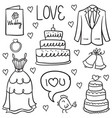 wedding drawn in doodled style vector image vector image