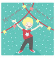 winter card with cheerful little boy having fun vector image