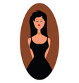 Woman in black dress on white background