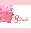 womens day poster with girl face made with flower vector image vector image