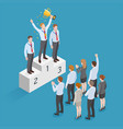 business people isometric concept design winner vector image