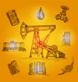 oil industry drawn elements vector image