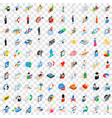 100 human icons set isometric 3d style vector image vector image