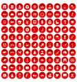 100 map icons set red vector image vector image