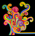 abstract varicolored curls on black background vector image vector image