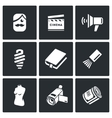 Actor and film industry icons set vector image vector image