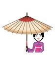 beautiful geisha japan character with umbrella vector image vector image