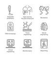 bioengineering linear icons set biotechnology vector image vector image