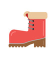 boot red with brown sole with warm fur vector image