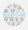 brainstorm round outline vector image vector image