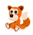 cartoon fox sitting on white vector image