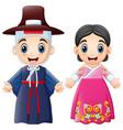 cartoon korean couple wearing traditional costumes vector image