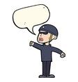 cartoon security guy with speech bubble vector image